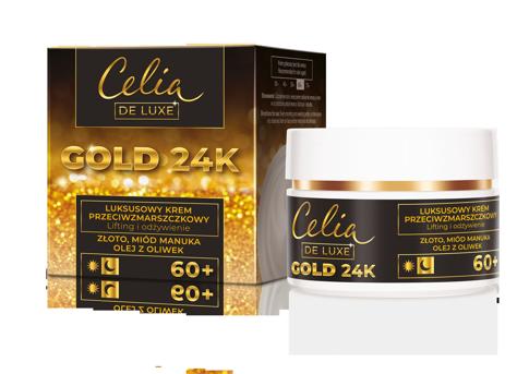 """Celia Gold 24K Luksusowy Krem przeciwzmarszczkowy 60+ - lifting i odżywienie 50ml"""""""