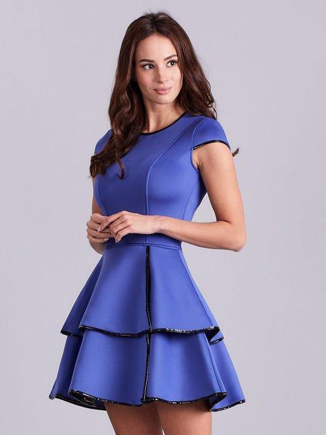 Chabrowa rozkloszowana sukienka                               zdj.                              5