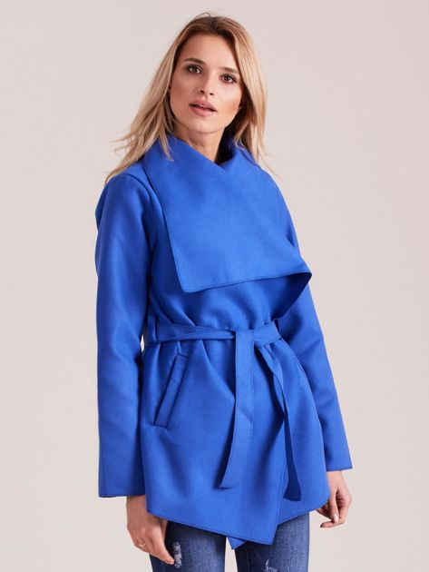 Chabrowy płaszcz z wiązaniem i kieszeniami                              zdj.                              1