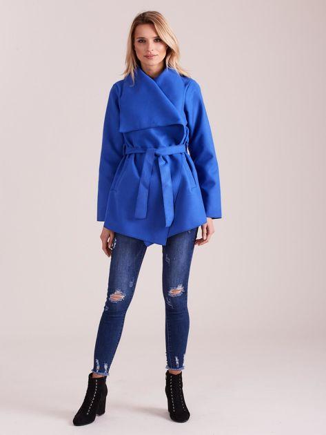 Chabrowy płaszcz z wiązaniem i kieszeniami                              zdj.                              4