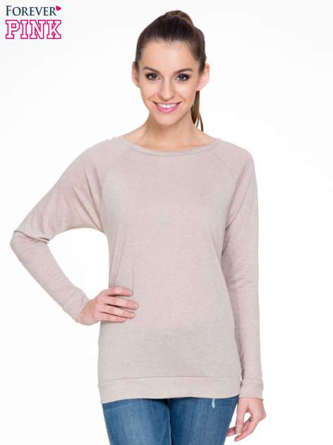 Ciemnobeżowa bawełniana bluzka z rękawami typu reglan                                  zdj.                                  1