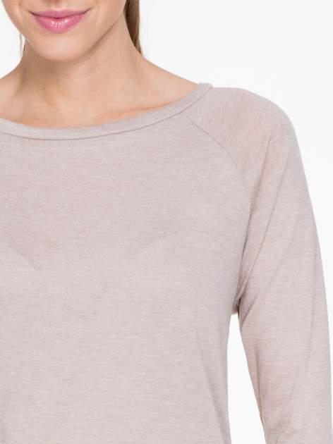 Ciemnobeżowa bawełniana bluzka z rękawami typu reglan                                  zdj.                                  5