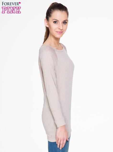 Ciemnobeżowa bawełniana bluzka z rękawami typu reglan                                  zdj.                                  3