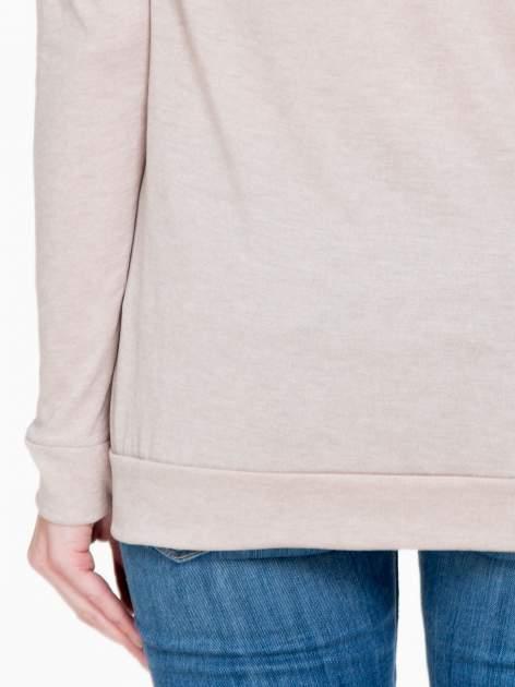 Ciemnobeżowa bawełniana bluzka z rękawami typu reglan                                  zdj.                                  8
