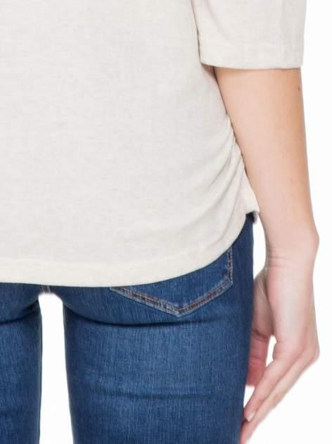 Ciemnobeżowa luźna bluzka z rękawem 3/4                                  zdj.                                  7