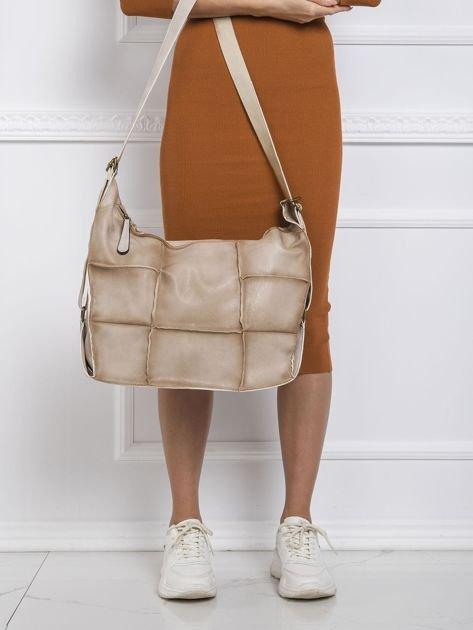 Ciemnobeżowa podłużna torba
