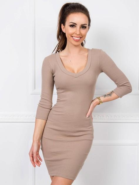 Ciemnobeżowa sukienka Kim RUE PARIS