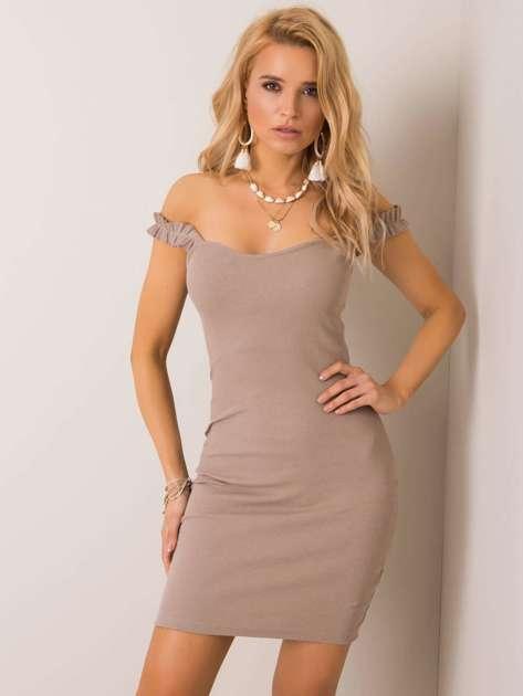 Ciemnobeżowa sukienka Majorca RUE PARIS