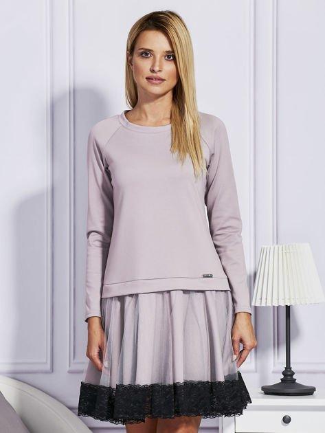 Ciemnobeżowa sukienka z tiulową spódnicą                                  zdj.                                  1