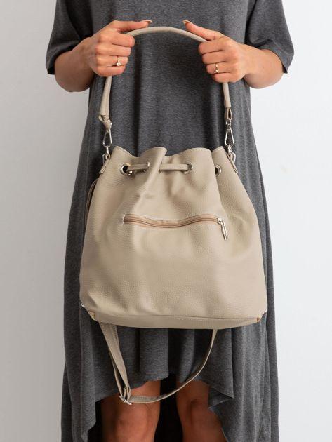 Ciemnobeżowa torba z motywem geometrycznym                              zdj.                              3