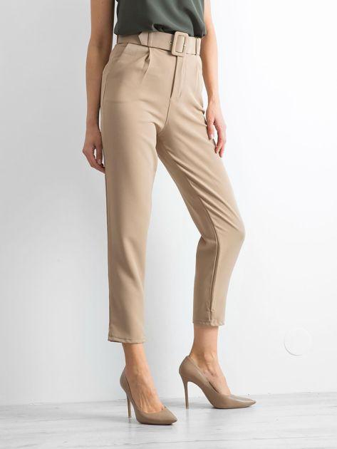 Ciemnobeżowe spodnie high waist                              zdj.                              3