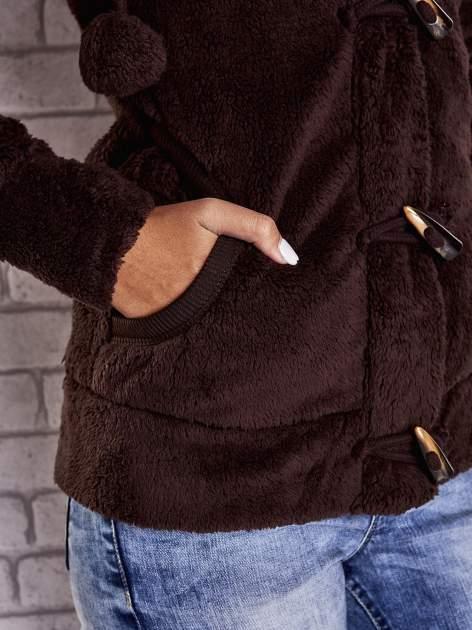 Ciemnobrązowa bluza misiek z kapturem i pomponami                                  zdj.                                  6