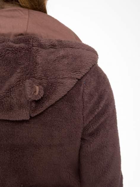 Ciemnobrązowa polarowa bluza miś z kapturem z uszkami i pomponami                                  zdj.                                  16