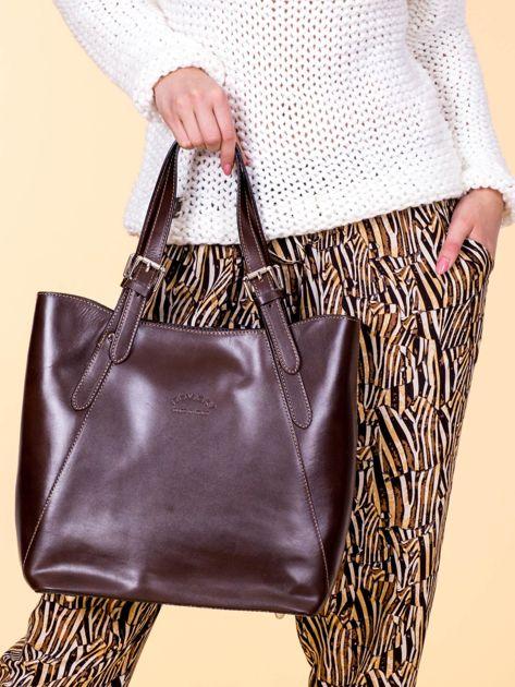 Ciemnobrązowa skórzana torba shopper bag                              zdj.                              1