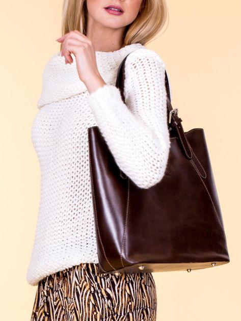 Ciemnobrązowa skórzana torba shopper bag                              zdj.                              4