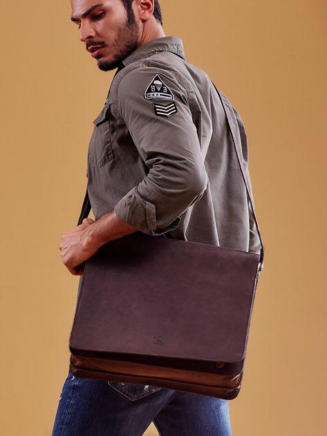 Ciemnobrązowa torba męska na ramię ze skóry naturalnej                              zdj.                              7