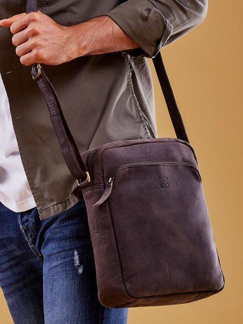 Ciemnobrązowa torba męska skórzana na ramię                              zdj.                              1