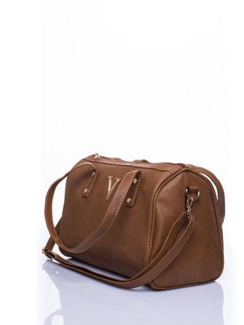 Ciemnobrązowa torba na ramię ze złotym emblematem                                  zdj.                                  5