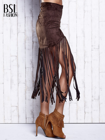 Ciemnobrązowa zamszowa spódnica z frędzlami                                  zdj.                                  3