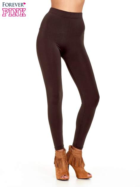 Ciemnobrązowe legginsy basic z lekkim ociepleniem                                  zdj.                                  1