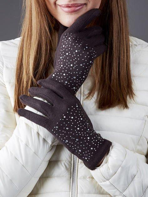Ciemnobrązowe miękkie rękawiczki damskie z dżetami