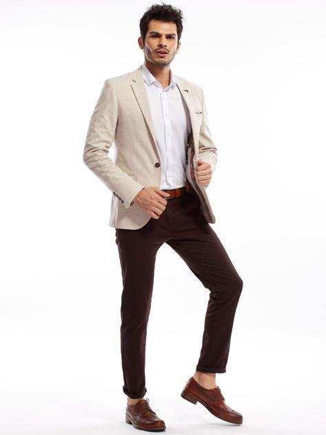 Ciemnobrązowe spodnie męskie chinos                              zdj.                              6
