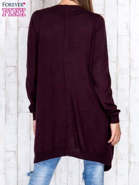 Ciemnobrązowy długi niezapinany sweter z kieszeniami                                  zdj.                                  4