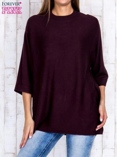 Ciemnobrązowy luźny sweter oversize z bocznymi rozcięciami                                  zdj.                                  1