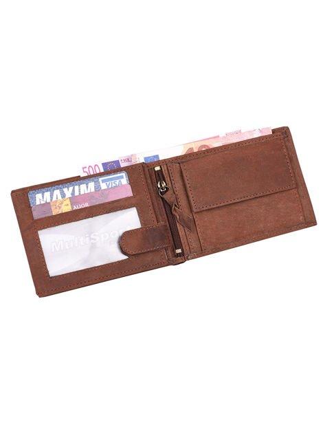 Ciemnobrązowy portfel męski ze skóry z emblematem                               zdj.                              4