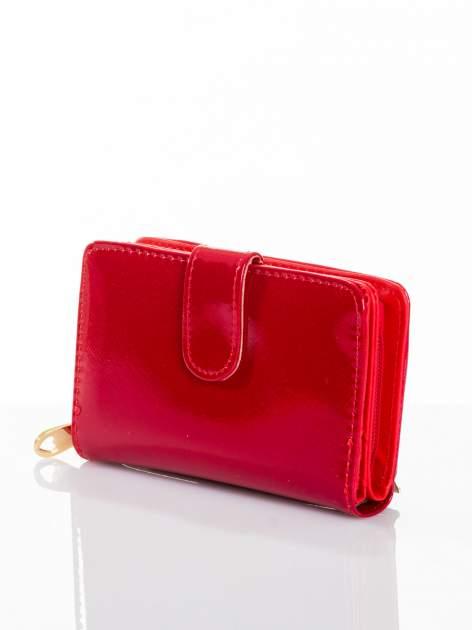 Ciemnoczerwony portfel efekt skóry saffiano                                  zdj.                                  2