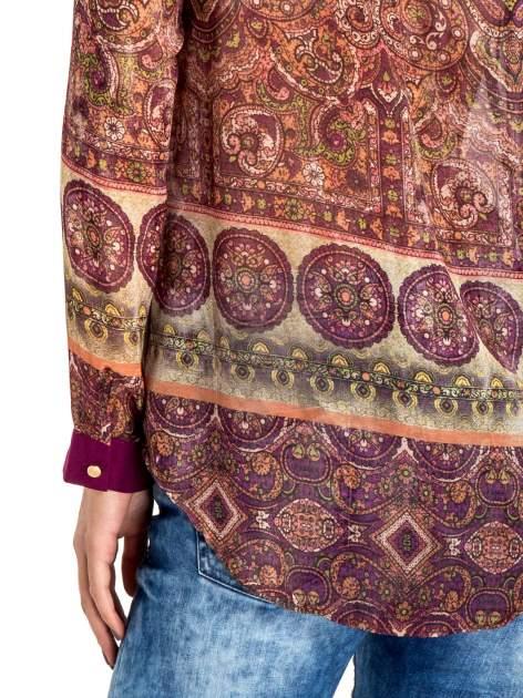 Ciemnofioletowa koszula w witrażowy wzór                                  zdj.                                  7