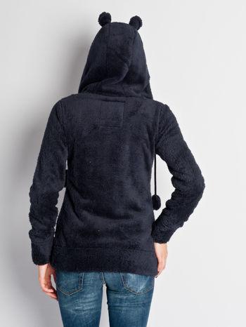 Ciemnofioletowa pluszowa bluza miś zapinana na guziki                                  zdj.                                  5