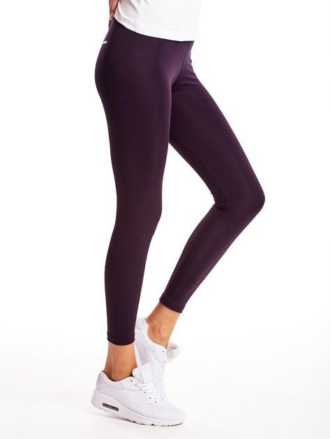 Ciemnofioletowe długie cienkie legginsy do biegania                              zdj.                              5