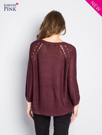Ciemnofioletowy sweter bawełniany z oczkami na ramionach                                  zdj.                                  5