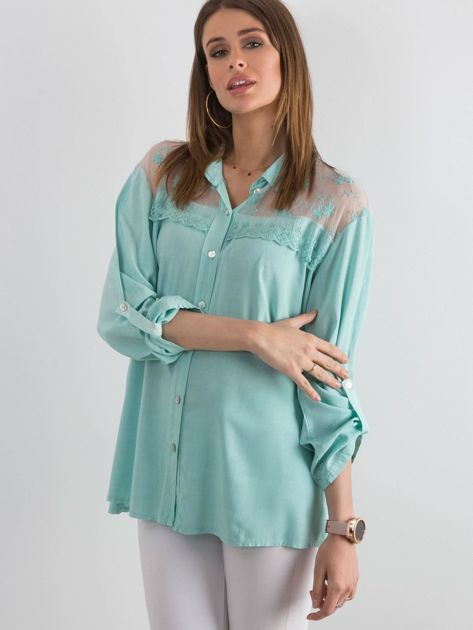 Ciemnomiętowa koszula z długim rękawem                               zdj.                              1