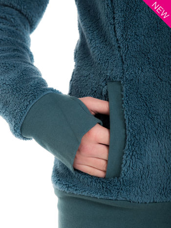 Ciemnoniebieska bluza futerkowa z kapturem i rękawami z otworem na kciuk                                  zdj.                                  8