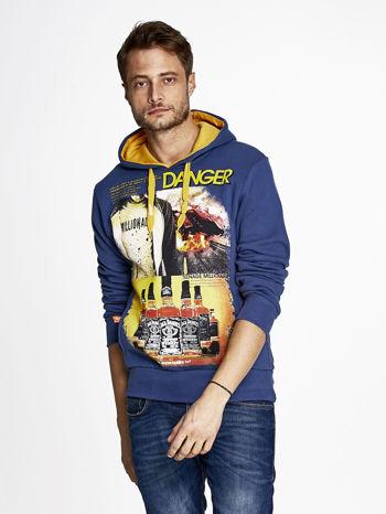 Ciemnoniebieska bluza męska z kapturem z napisem DANGER                                  zdj.                                  1