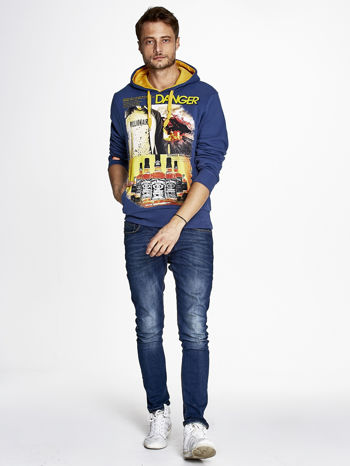 Ciemnoniebieska bluza męska z kapturem z napisem DANGER                                  zdj.                                  4