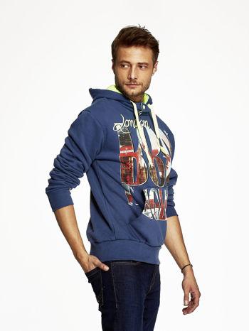 Ciemnoniebieska bluza męska z motywem Londynu                                  zdj.                                  3