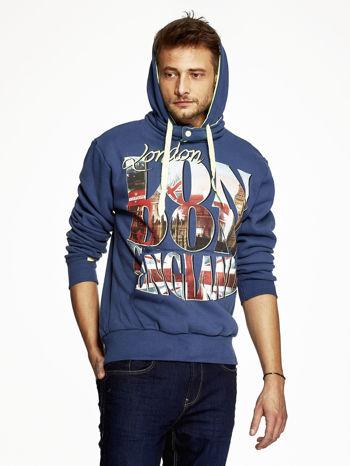 Ciemnoniebieska bluza męska z motywem Londynu                                  zdj.                                  5