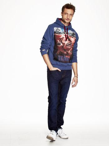 Ciemnoniebieska bluza męska z nadrukiem rekinów                              zdj.                              4
