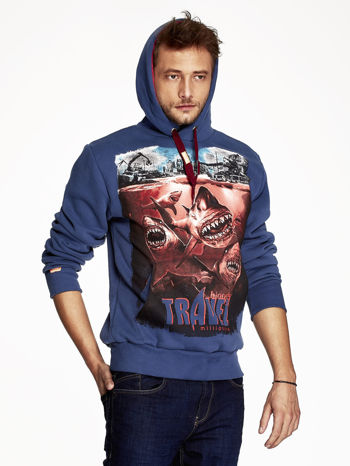 Ciemnoniebieska bluza męska z nadrukiem rekinów                                  zdj.                                  5