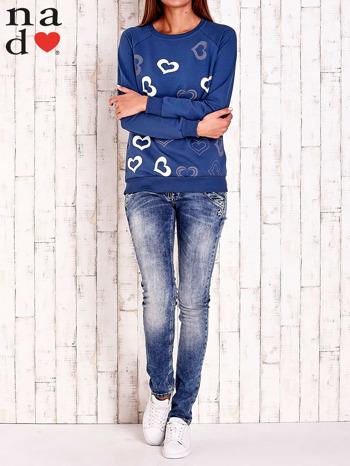 Ciemnoniebieska bluza w serduszka                                  zdj.                                  2
