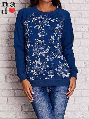 Ciemnoniebieska bluza z kwiatowym nadrukiem                                  zdj.                                  1