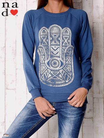 Ciemnoniebieska bluza z motywem dłoni