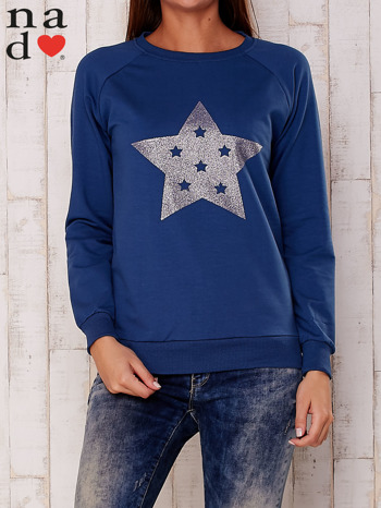 Ciemnoniebieska bluza z nadrukiem gwiazdy                                  zdj.                                  1