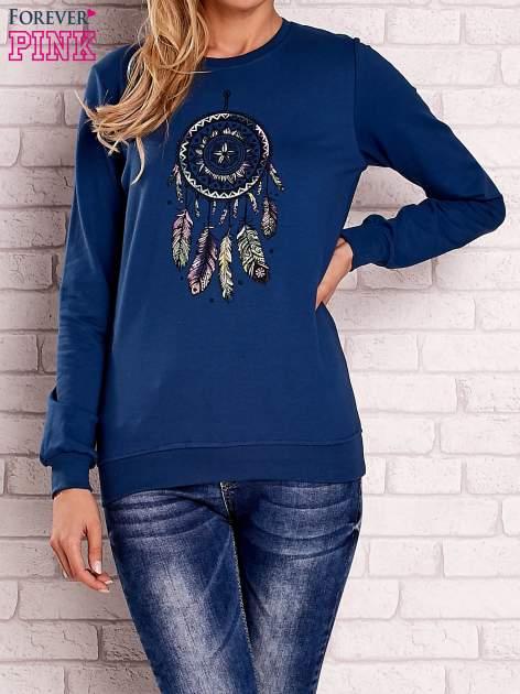 Ciemnoniebieska bluza z nadrukiem łapacza snów                                  zdj.                                  1