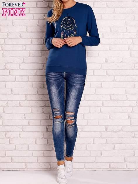 Ciemnoniebieska bluza z nadrukiem łapacza snów                                  zdj.                                  2
