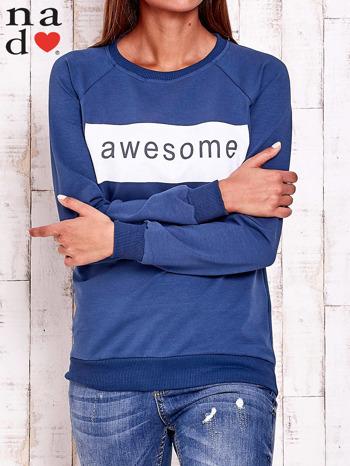 Ciemnoniebieska bluza z napisem AWESOME                                  zdj.                                  1