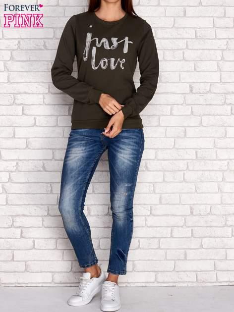 Ciemnoniebieska bluza z napisem JUST LOVE i perełkami                                  zdj.                                  2